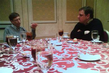 Bill Gates talking with Michael Arrington of TechCrunch